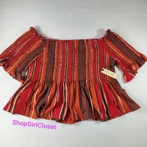 Off the Shoulder Crop Top Womens M NWT